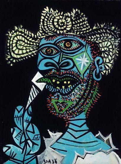 Pablo Picasso - Self portrait  Description:Self portrait with straw hat of the Spanish artist Pablo Picasso (1881-1973) - Paris:Musée National Picasso (France)Categories:Cubism  Painting  Visual ArtYear:1938