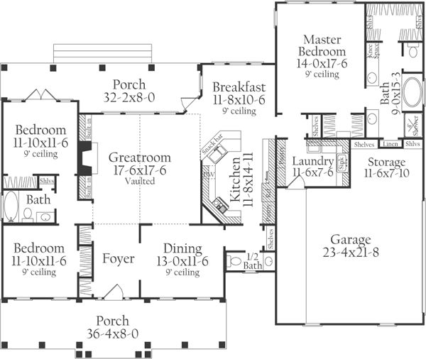 Southern Style House Plans 2046 Square Foot Home 1