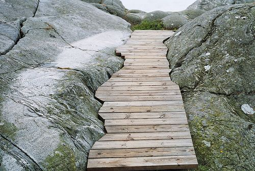 Boardwalk between rock faces.