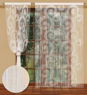 Wyrafinowanie i finezja w jednym – tak można z powodzeniem określić tę firanka konfekcjonowana (spaghetti). Wyrafinowany jest pomysł na cienkie spaghetti w oknie, finezyjny jest wzór zakręconych krążków. Wysokość x Długość: 250x150 cm Kolor: biały  Uwagi: #firanka_z_tunelem kasandra.com.pl