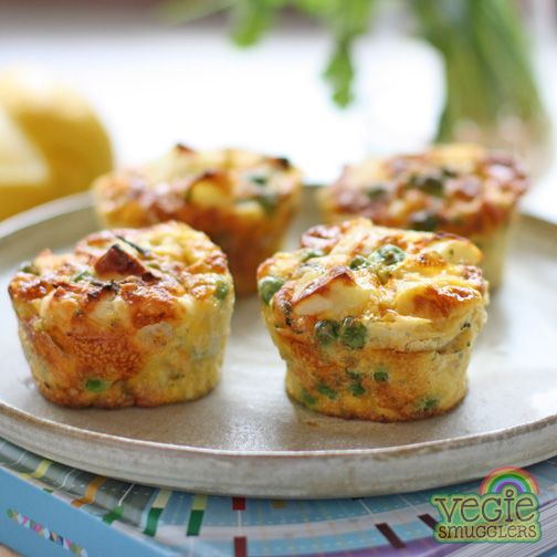 Pea, potato & haloumi frittatas. Gluten-free. Delicious hot or cold. Perfect in lunchboxes. Great food for toddlers.