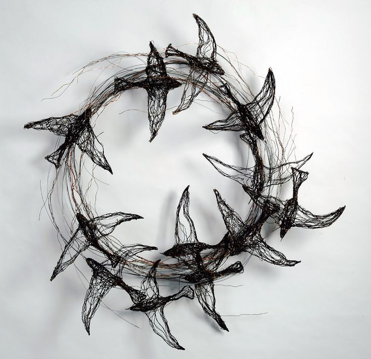 Bird Sculptures Made Out Of Telephone Wire By Celia Smith