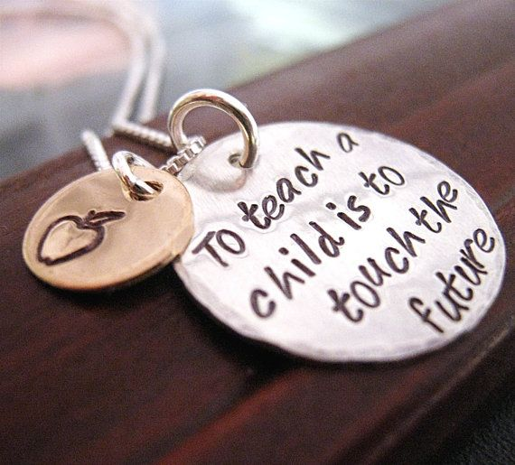 GREAT IDEA FOR NONPROFIT USING HOUSE MANTRA... To Teach Hand Stamped Teacher Necklace by JLynnCreations, $37.00
