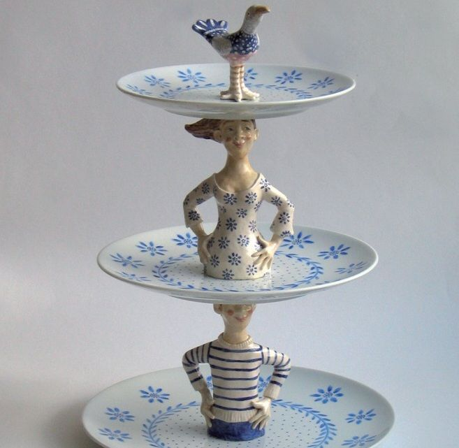 A cake Stand! A good way to use up old ceramics and half dolls.