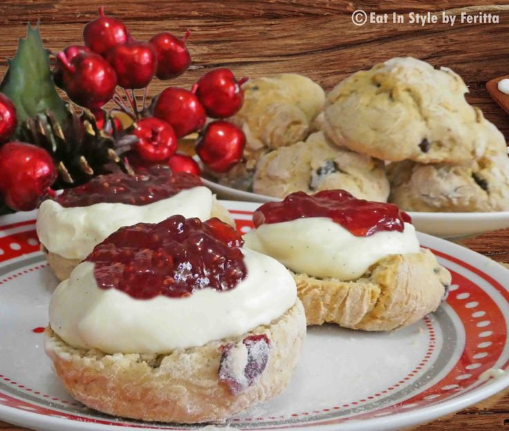 """Christmas Scrones with Spiced Cream - these moreish """"scrones"""" are a combination of scone and rock cake in one - served with my Spiced Cream and jam they are simply divine!"""