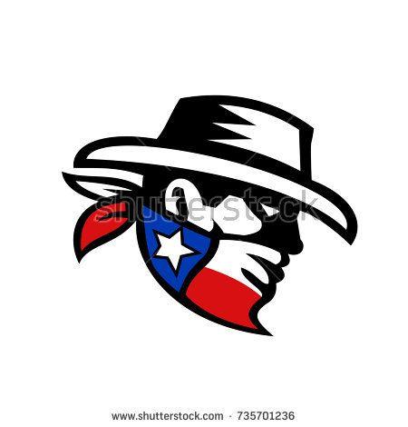 Retro style illustration of a masked Texas Bandit Cowboy head wearing a bandana mask with texas Lone Star State flag on isolate background.  #bandit #retro #illustration