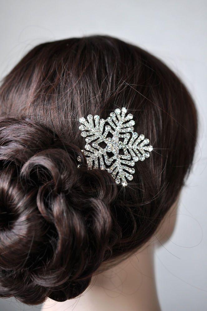 Vintage Inspired Crystal Rhinestone Snowflake Hair Clip (Sparkle-2081-U)