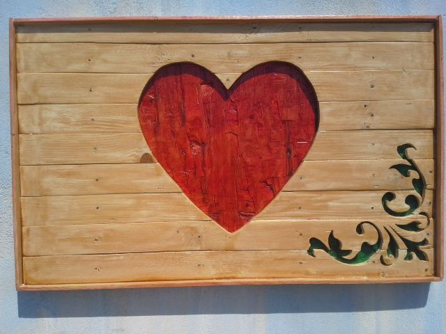 heart made from pallet wood