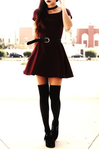 ←how to wear thigh high socks Black thigh high socks with bordeaux skater dressis a great mixture of candor with mystery, playfulness