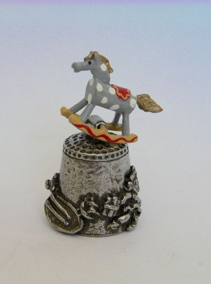 A  delightful hand painted English Pewter Thimble of  a  Childs Rocking Horse  | eBay