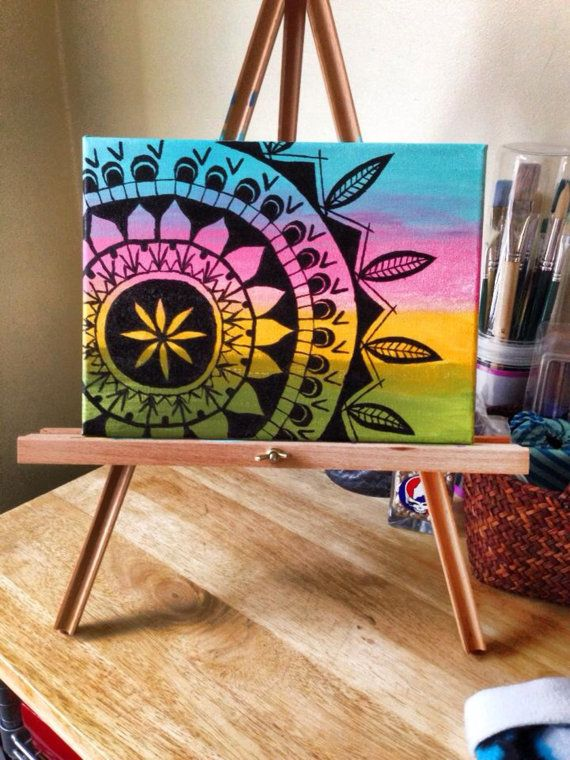 Original mandala painting on canvas dream catcher by YPRFAMcrafts