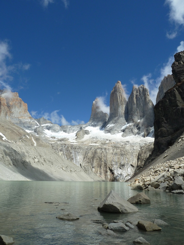 A very proud moment when I took this photo of the famous Towers in Torres del Paine National Park in Chilean Patagonia. The clouds had just cleared and the sun was shining - it was very peaceful before the long trek back down Ascencio Valley!