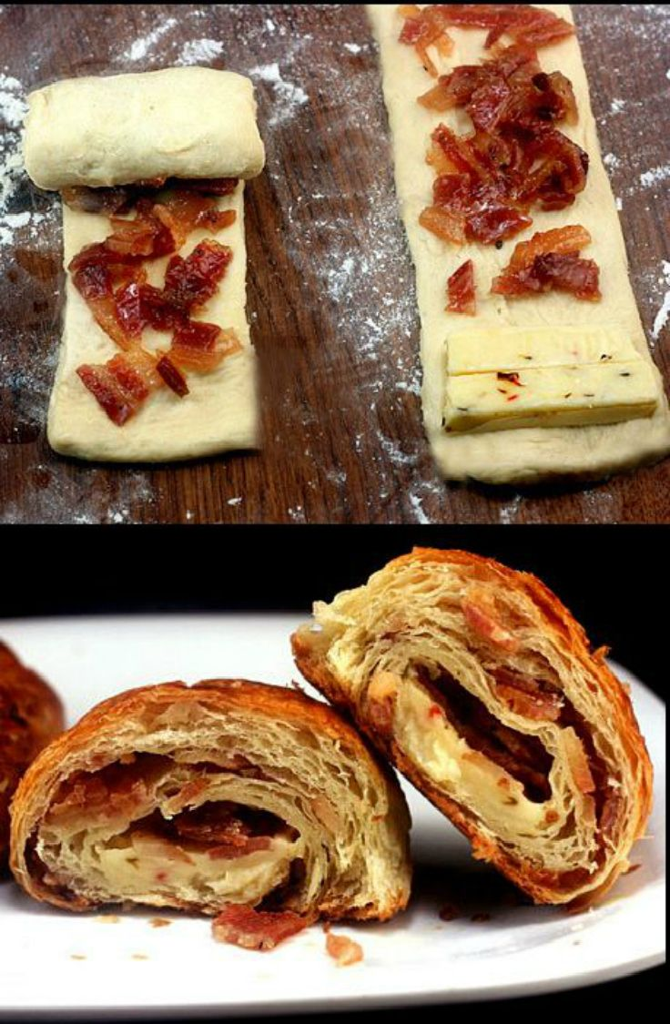 Bacon and Pepper Jack Cheese Croissants. Great with crescent roll dough too!