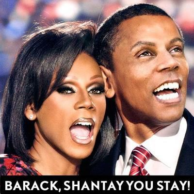 I'm still undecided on the election...but this had to be shared!  Look closely.  They're both RuPaul!!!