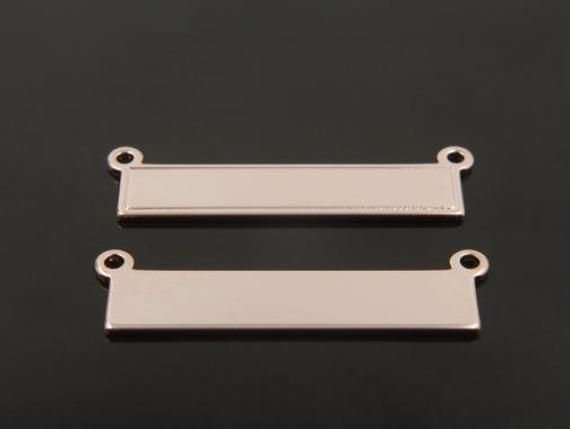 1mm thick Personalized stamping blank bar A32-G2 4 pcs Bar pendant 37x8mm 16K gold plated brass Stamping bar with 2 loops