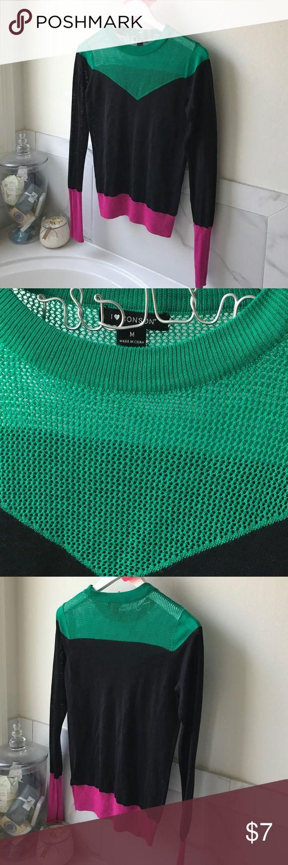 I ❤️ Ronson knit shirt Kelly green, navy blue & Fuchsia print knit long sleeve shirt. Worn once no flaws. Charlotte Ronson Tops Blouses
