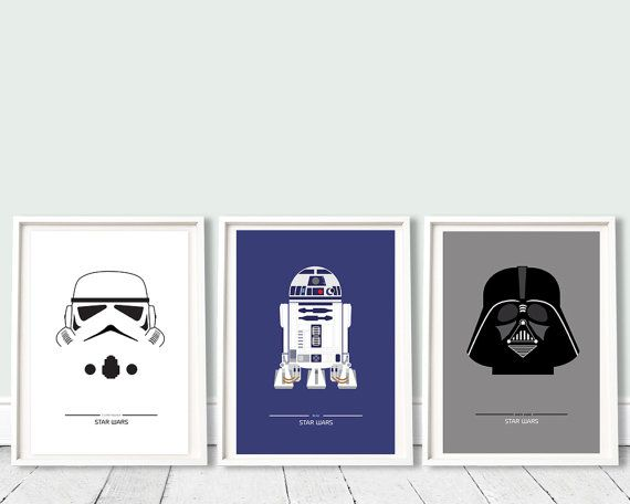 STAR WARS - collection 3 - A3 (12 x 16 po) film, affiche de cinéma, trilogie star wars, darth vader, r2d2, stormtrooper, enfants, geekery, minimaliste