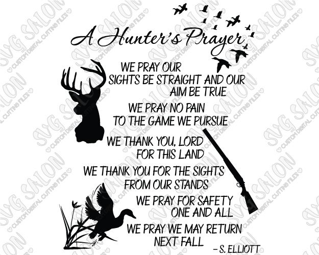 A Hunter's Prayer Southern Custom DIY Vinyl Sign Decal Cutting File in SVG, EPS, DXF, JPEG, and PNG Format
