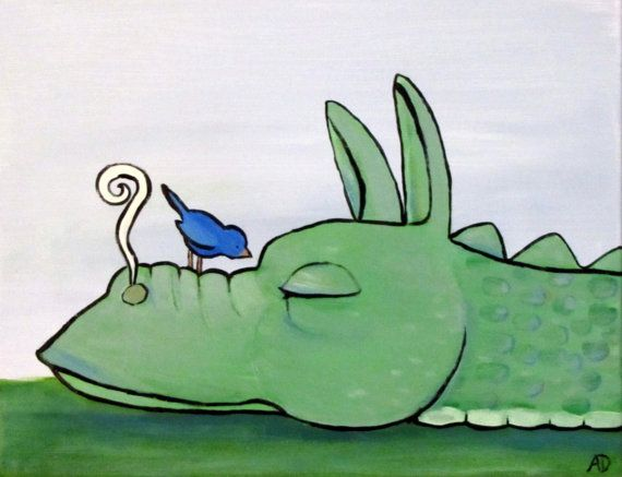 Sleeping Dragon Original Childrens Storybook Painting by andralynn, $60.00