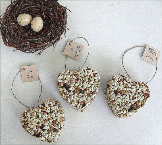 50 Bird Seed Favors  hearts personalized eco by naturefavors, $74.95