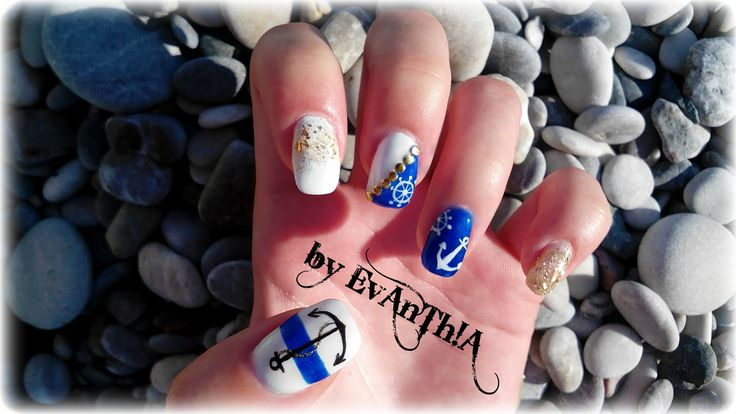 #nails #gelnails #summernails #blue #white #gold #anchor #rudder #rope #cmarso #by_Evanthia