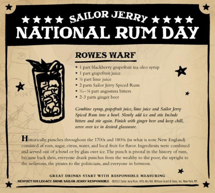 Rowes Warf. Blackberry grapefruit tea oleo syrup, grapefruit juice, lime, Sailor Jerry Spiced Rum, Angostura bitters, ginger beer. National Rum Day poster. Drinking glass with ice. New England. Page no longer exists