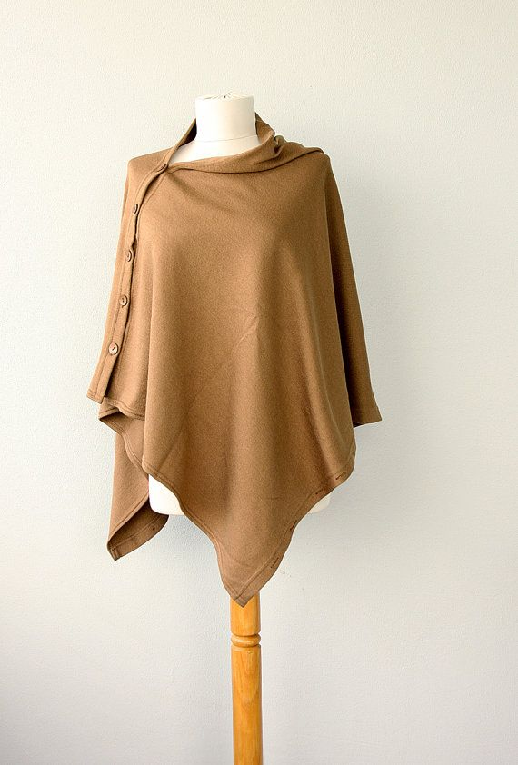 Poncho with buttons Convertible shrug Knit women by violasboutique