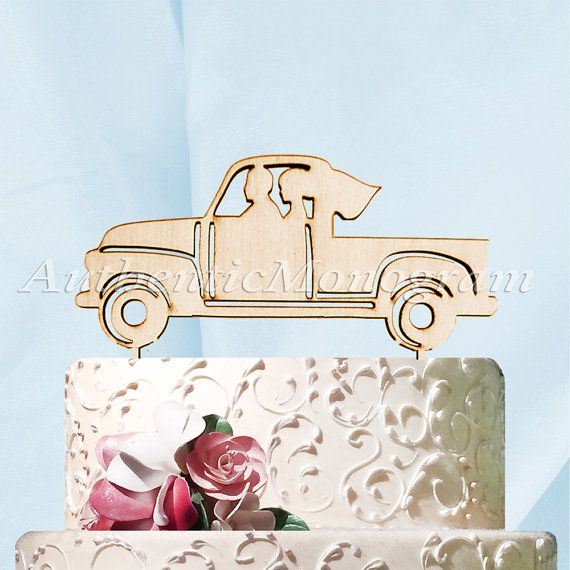 Mr & Mrs Wedding Cake Topper Husband Wife Vintage Pickup Truck