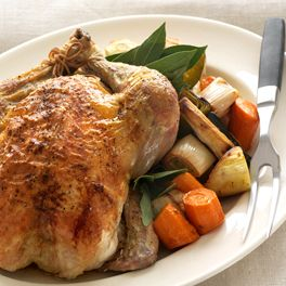 Roasted Organic Chicken with Lemon and Fresh Thyme