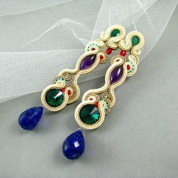 """Cosmic emerald rivioli""...soutache earrings with Swarovski Rivioli bead, amethyst, green onyx and quartz.."