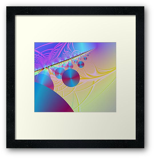 A fractal design of rows & columns of floating large discs in the bottom left, fading to smaller toward the top right, with lines forming a support structure.  This is a relative of the Supported Discs series. • Also buy this artwork on wall prints, apparel, stickers, and more.