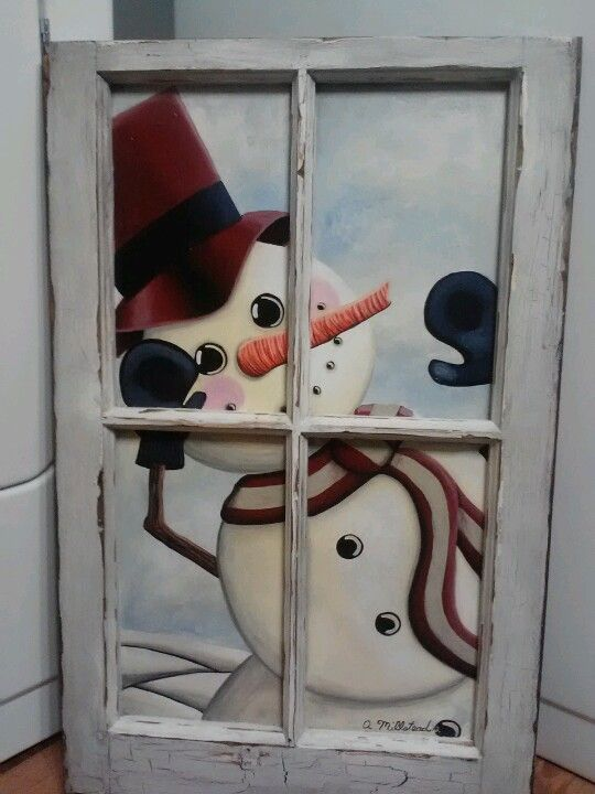 Handpainted snowman window. Email: redheadreinventions@gmail.com for order info.