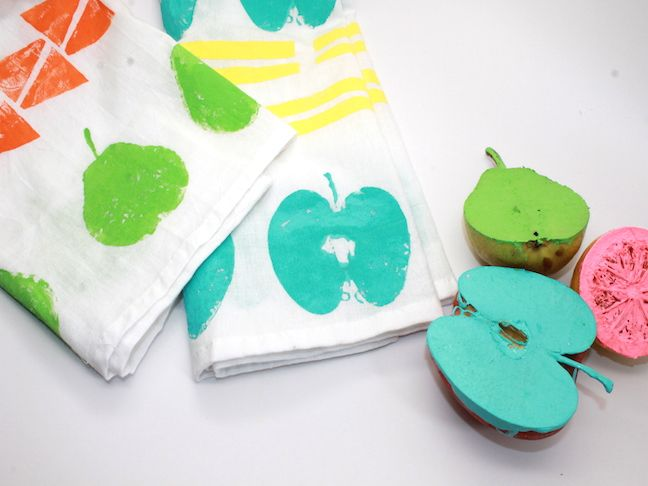 DIY Fruit Stamped Tea Towels