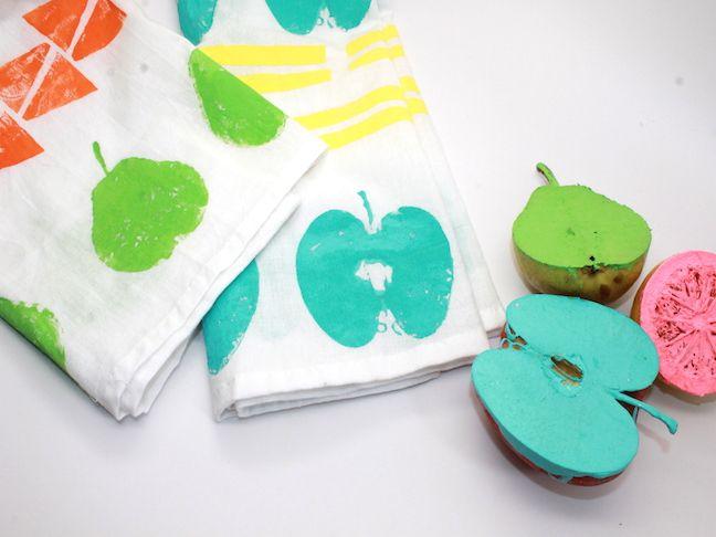 DIY Fruit Stamped Tea Towels