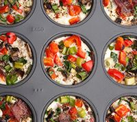 Any-Phase Loaded Egg White Muffins with bacon - hearty, satisfying, anytime-meal. (Ideal Phase 2 snack, too!)