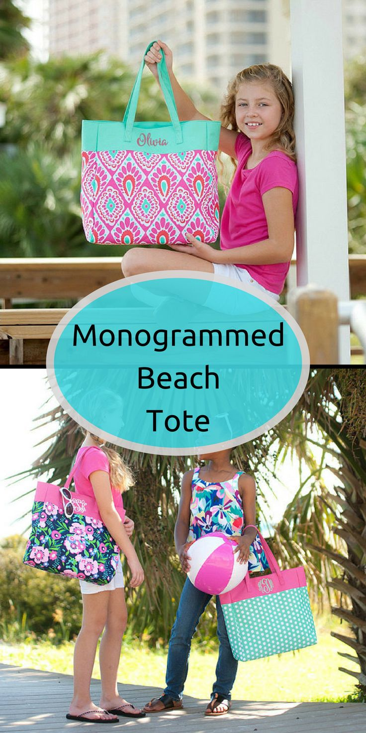Love these colorful girls beach totes! #girls #beachtote #beachbag #monogrammed #luggage #affiliate