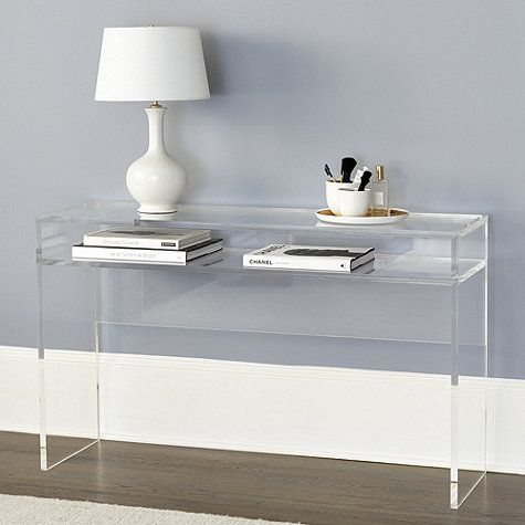 Possible desk for master bedroom...  In front of wall mirror?  Trays of jewelry on lower shelf?  Alissa Acrylic Console