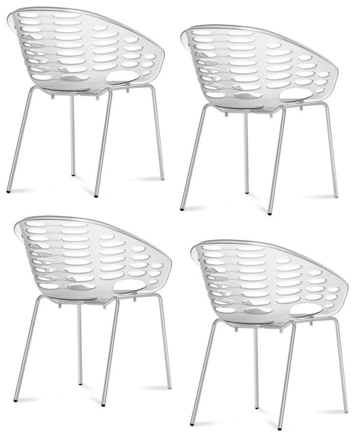 4 st Blob stolar - Transparent/chrome från Domitalia hos ConfidentLiving.se