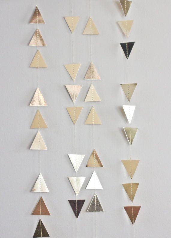 Triangle Garland – Gold Foil Garland – Gold Glitter Garland – Tribal Garland – Garland Backdrop – Christmas Garland – Wedding Garland – Lara Nie