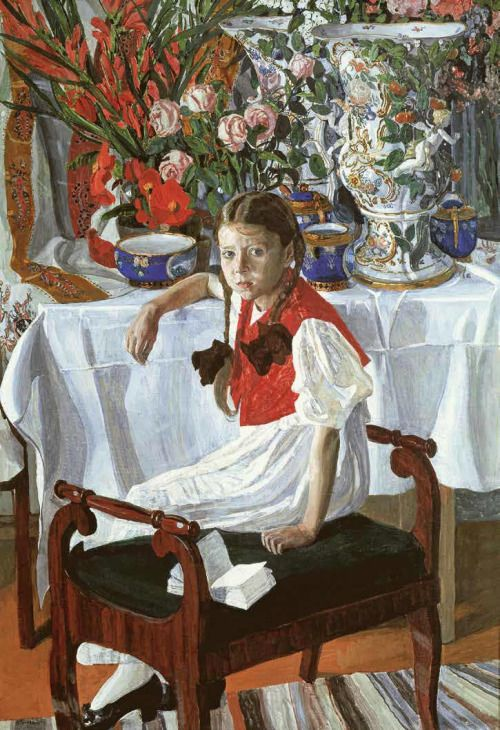Alexander Yakovlevich Golovin - Girl and porcelain (Frosya), 1916. Tempera on canvas, 146 x 97 cm. The State Tretyakov Gallery, Moscow, Russia.