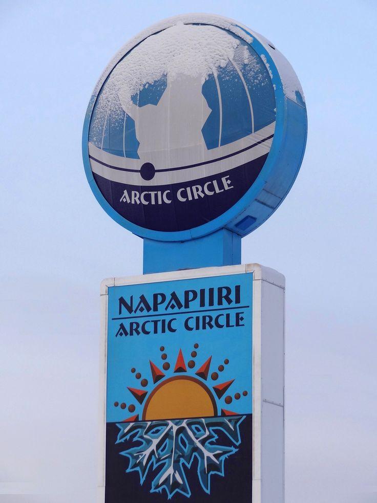 Arctic Circle sign in Pello Western Lapland in Finland