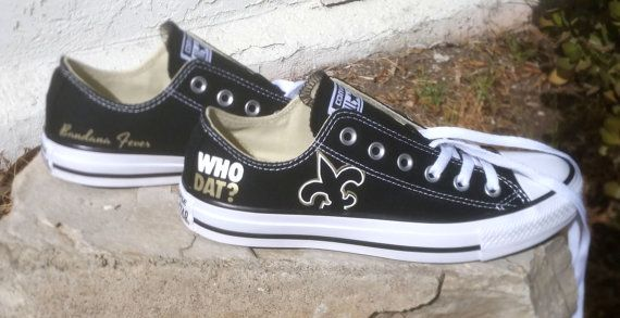Converse Low Black New Orleans Saints - Football Fans Gift - NFL Football New Orleans Saints - Saints Football, by Bandana Fever  ************************************************************************ Converse All-Star Chuck Taylor customized with an NFL logo vinyl design by Bandana Fever on outer sides of shoes. Sneakers are personalized with a vinyl design, not glued, drawn, or painted. Shoes included. Not sold in stores.  > ORDERING POLICY: This item is custom-made-to-order and…