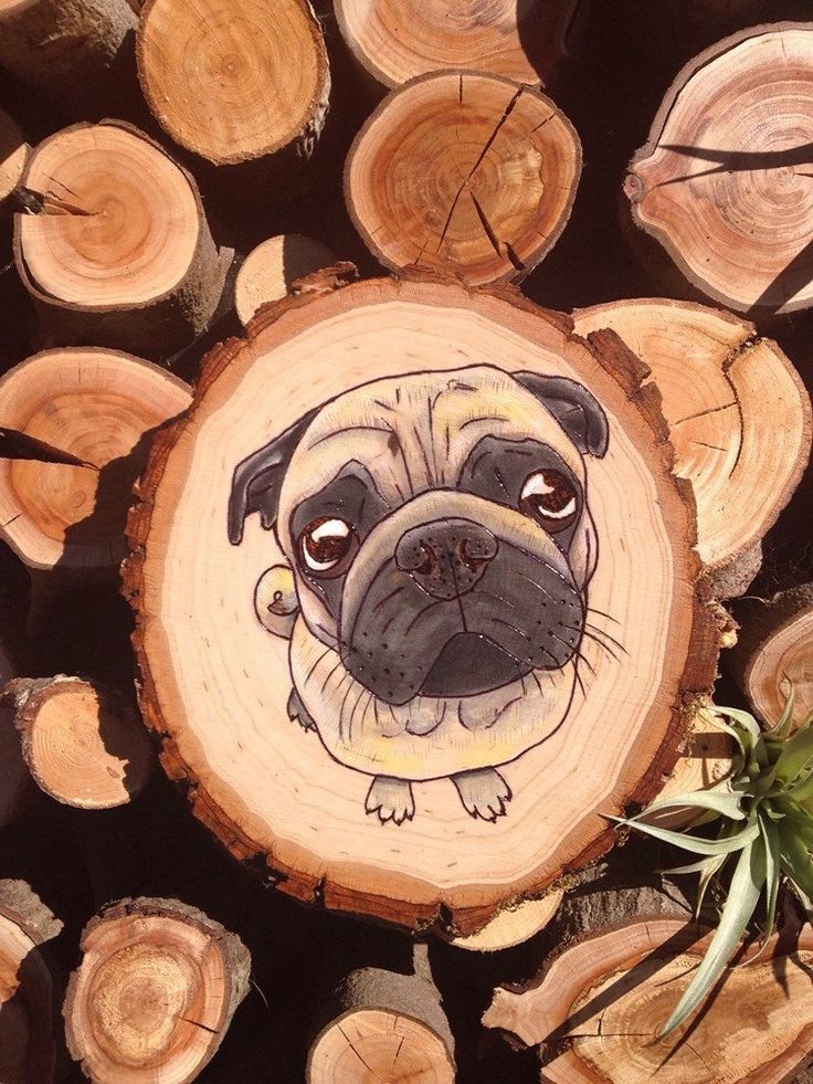 Official ArtFire Tumblr - Wood Burned and Watercolor Pug Illustration by...