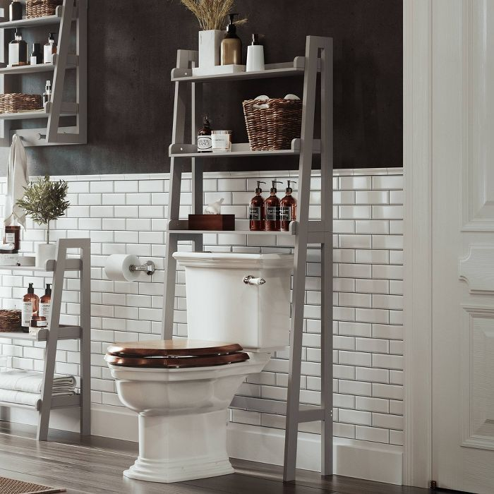 Over Toilet Space Saver With Tiered Ladder Shelves White Riverridge Home Over Toilet Ladder Shelf Bathroom Shelf Decor