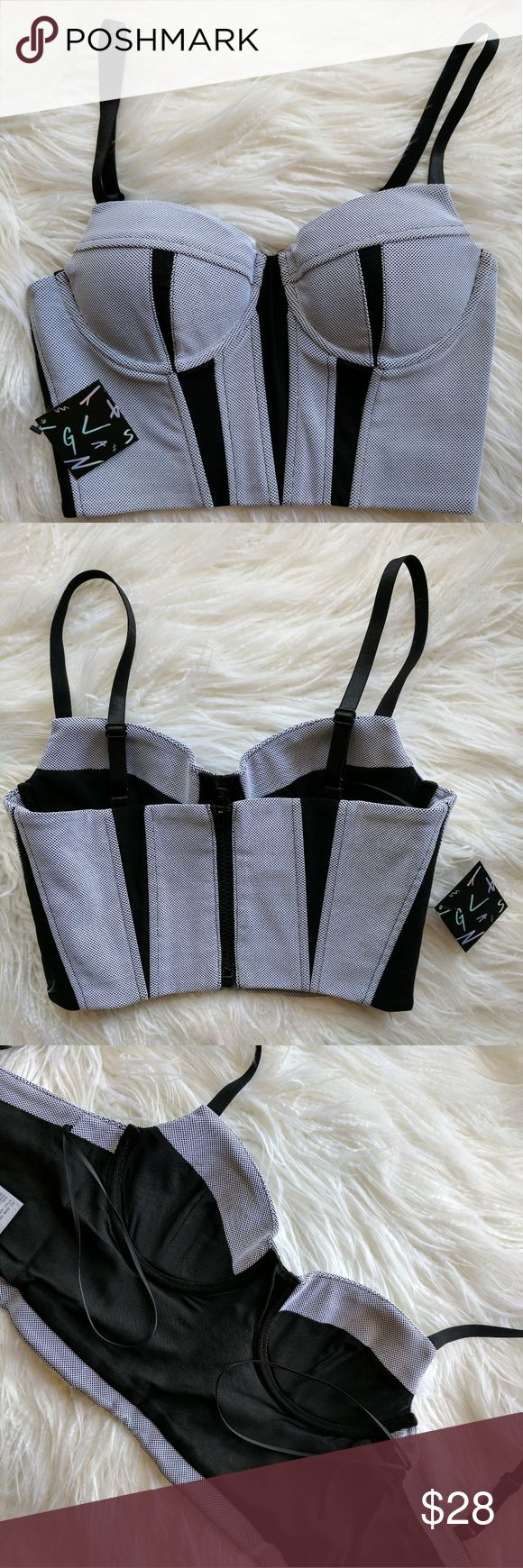 Extra small black leather gloves - Nwt Nasty Gal Corset Crop Top In Black And White Nwt