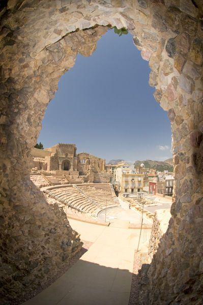 The Roman Theatre of Carthago Nova and Cathedral ruins of Cartagena in the region of Murcia, South Eastern Spain