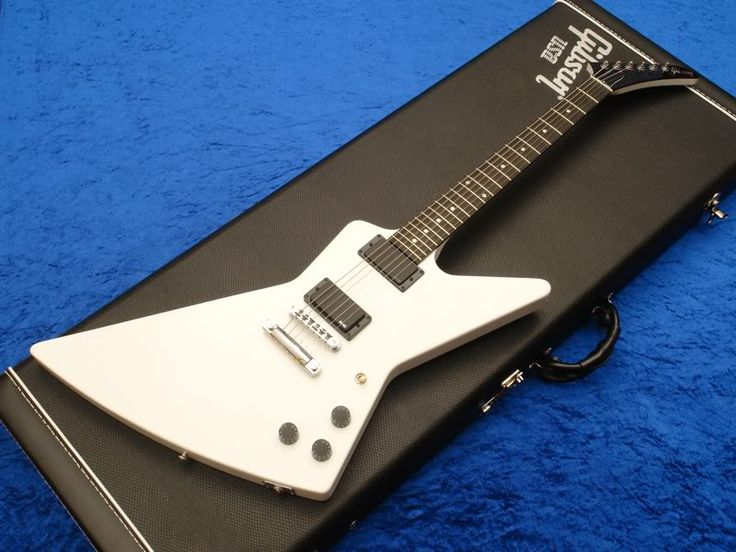 Gibson 84' Reissue Explorer - Guitar is a reproduction of James Hetfield's (Metallica) famous explorer he used live and to create the Ride the Lightening, Master of Puppets, and And Justice For All albums. Has EMG pickups. I swapped out the black speed knobs for the chrome dome knobs James had on his axe! I looks, plays, and sounds killer! FYI that's not my blue carpet!