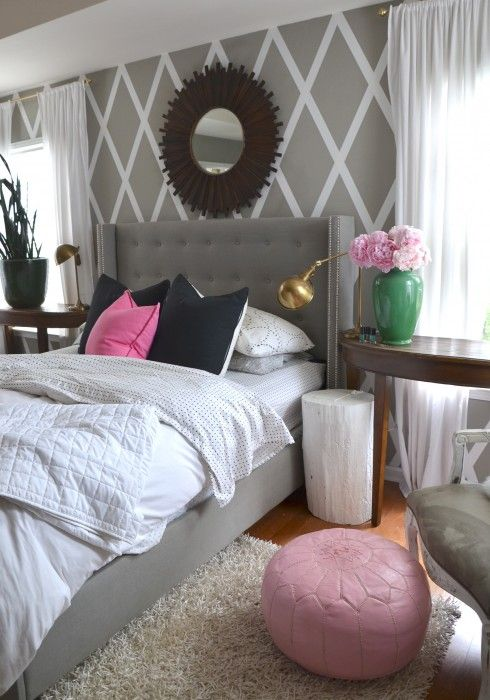 gray walls with a splash of pink in the master bedroommaybe with mint instead of pink easy to do wall pattern