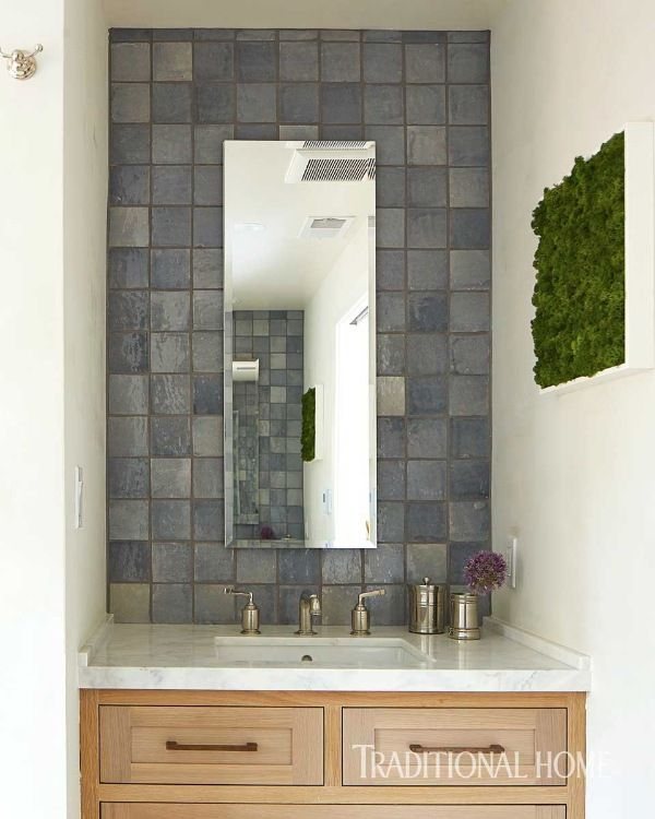 Blue Glass Tiles From Ann Sacks Glimmer On Mirror Walls Above The Two Sink  Vanities.