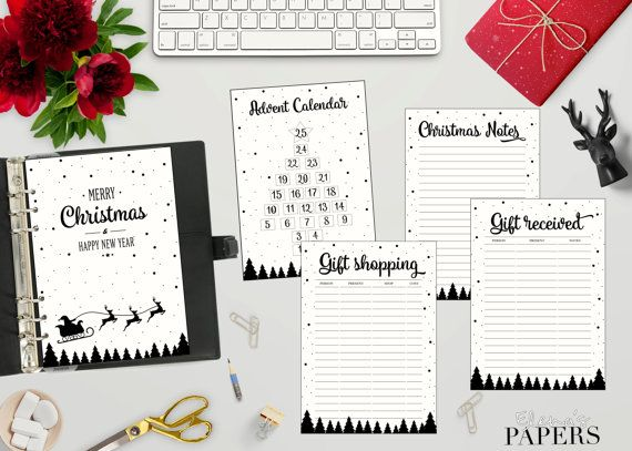 """Printable A5 CHRISTMAS inserts """"Black & White style"""" for your A5 planner"""